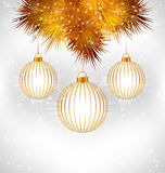 Christmas balls and pine on grayscale Royalty Free Stock Image