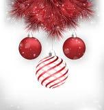Christmas balls on pine on grayscale Royalty Free Stock Photography