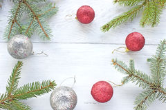 Christmas balls pine  needles Stock Photo