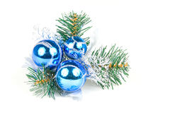 Christmas balls on a pine tree. Isolated on white background stock images