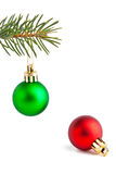Christmas balls on the pine-tree. Christmas tree decoration on the pine tree Royalty Free Stock Image