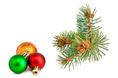 Christmas balls and pine-tree Royalty Free Stock Photography
