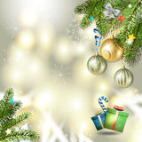 Christmas balls and pine tree. Christmas background with balls and pine tree branch Stock Photos