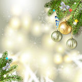 Christmas balls and pine tree Royalty Free Stock Images