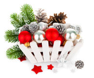 Christmas balls with pinecone and branch fir Stock Photos