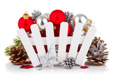 Christmas balls with pinecone and branch fir Stock Images