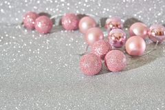 Christmas balls pink stock photography
