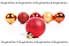 Christmas balls and place for text. Christmas  balls and place for sample text Stock Images