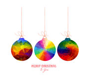 Christmas balls polygonal colorful on a white backgrounds Royalty Free Stock Image