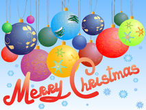 Christmas balls postcard Royalty Free Stock Images