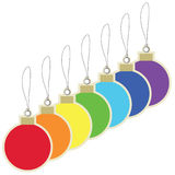 Christmas balls price tags Royalty Free Stock Photography