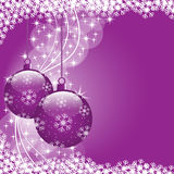Christmas balls purple. Christmas scene with hanging ornamental purple xmas balls, snowflakes and stars. Copy space for text Royalty Free Stock Photography