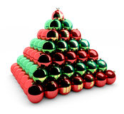 Christmas balls pyramid Royalty Free Stock Images