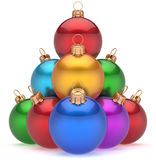 Christmas balls pyramid multicolored New Year's Eve baubles. Christmas balls pyramid multicolored red leader on top New Year's Eve bauble group decoration Royalty Free Stock Images