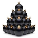 Christmas balls pyramid New Year`s Eve black baubles group. Adornment decoration glossy spheres ornament. Happy Merry Xmas traditional wintertime holidays royalty free illustration