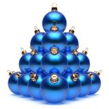 Christmas balls pyramid New Year`s Eve blue baubles group. Adornment decoration glossy spheres ornament. Happy Merry Xmas traditional wintertime holidays vector illustration