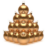Christmas balls pyramid New Year's Eve golden baubles group. Adornment decoration glossy spheres ornament. Happy Merry Xmas traditional wintertime holidays Royalty Free Stock Photography