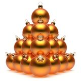 Christmas balls pyramid New Year`s Eve orange baubles group. Adornment decoration glossy spheres ornament. Happy Merry Xmas traditional wintertime holidays stock illustration