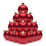 Christmas balls pyramid New Year`s Eve red baubles group. Adornment decoration glossy spheres ornament. Happy Merry Xmas traditional wintertime holidays vector illustration