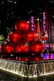 Christmas Balls and Radio City Music Hall. Two Manhattan landmarks, the Christmas Balls and Radio City Music Hall shine bright for all to see royalty free stock photos
