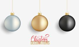 Christmas balls. Realistic Christmas balls of gold, silver and black metallic colors. Winter holidays design elements.  Stock Image