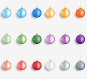 Christmas balls. Realistic winter holidays decorations. Glossy Christmas Balls. Colorful balls Royalty Free Stock Photos
