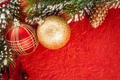Christmas balls on red Stock Photo