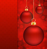 Christmas balls and Red abstract background Royalty Free Stock Photo