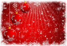 Christmas balls and red abstract background.  Royalty Free Stock Image
