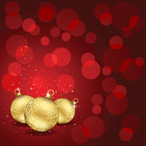 Christmas balls on red background Royalty Free Stock Images