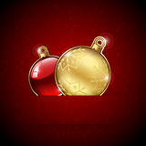 Christmas balls on red background Stock Photo