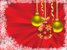 Christmas balls on a red background. With snowflakes Stock Photo
