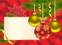 Christmas balls on a red background. Christmas balls and plaque on a red background Stock Image