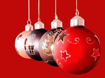 Christmas balls on red background Stock Photography