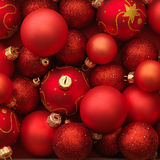 Christmas balls red background Royalty Free Stock Photo