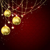 Christmas balls on red background Royalty Free Stock Image