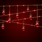 Christmas balls on red background Royalty Free Stock Photos