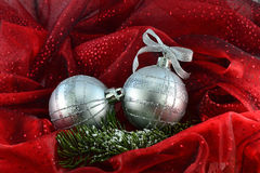 Christmas balls on red background stock images
