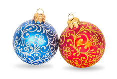 Christmas balls red and blue Stock Photos