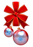 Christmas balls with red bow Royalty Free Stock Photography