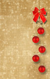 Christmas balls and red bow with bells Royalty Free Stock Photos