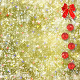 Christmas balls and red bow with bells Stock Photo