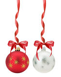 Christmas balls with red bow isolated on the white background Stock Image