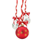 Christmas balls with red bow isolated on the white background Stock Photography