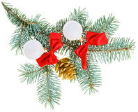 Christmas balls, red bows and cone Royalty Free Stock Images