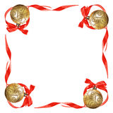 Christmas balls with red bows and ribbons. Isolated on a white background for text Stock Photos