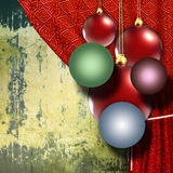 Christmas balls with red curtain Royalty Free Stock Images
