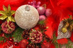 Christmas balls and red feathers. Christmas balls, tree branches and red feathers stock images