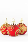 Christmas balls in red and gold Stock Images