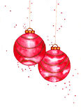 Christmas Balls. Red and gold watercolor ornament Christmas balls Royalty Free Stock Images